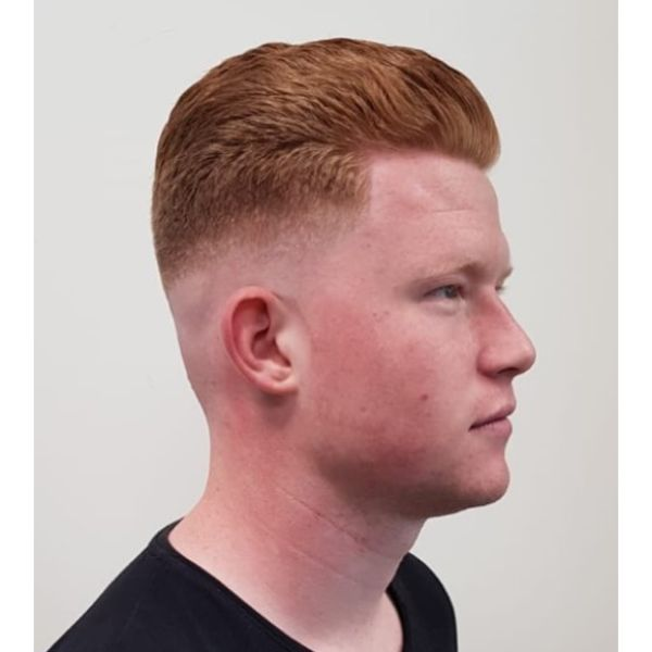 Ginger Colored Razor Fade Hairstyles For Men With Thick Hair