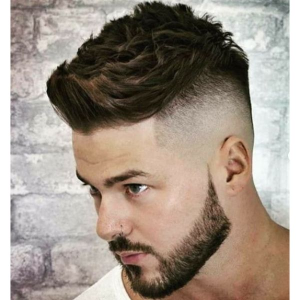 High Fade with Up-swept Spiky Top for Men with Thick Hair