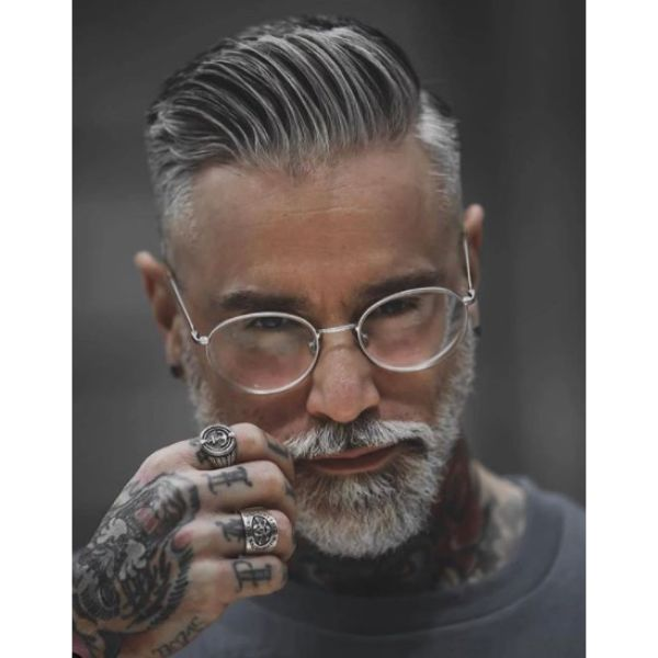 Hipster Gray Hair with Shaved Sides