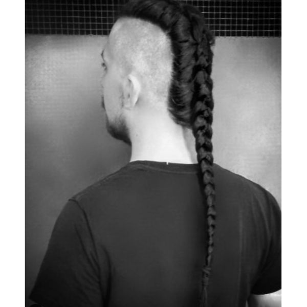 Long Single Braid with Shaved Sides