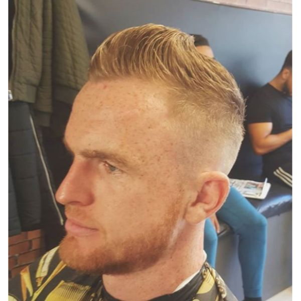 Low Fade With Side Swept Quiff