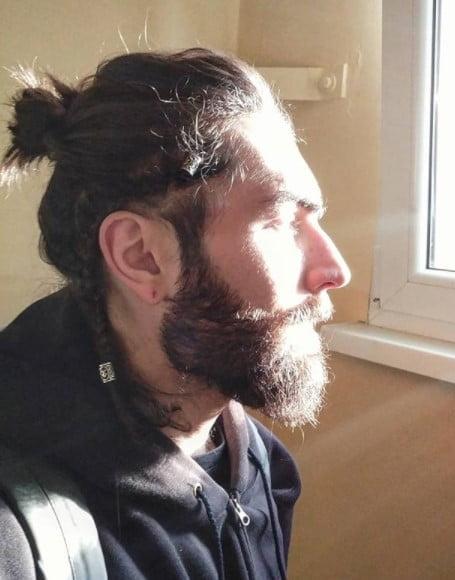 Messy Bun with Side Braid Viking Hairstyles