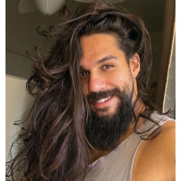 Messy Ultra Long Viking Hairstyle