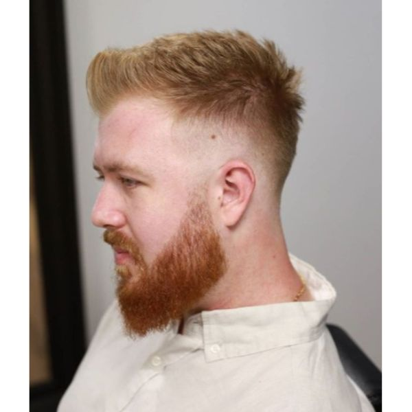 Mid Fade With Upswept Top