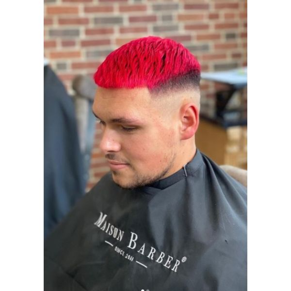 Mid Fade with Textured Bright Red Top Hairstyle For Men With Thick Hair