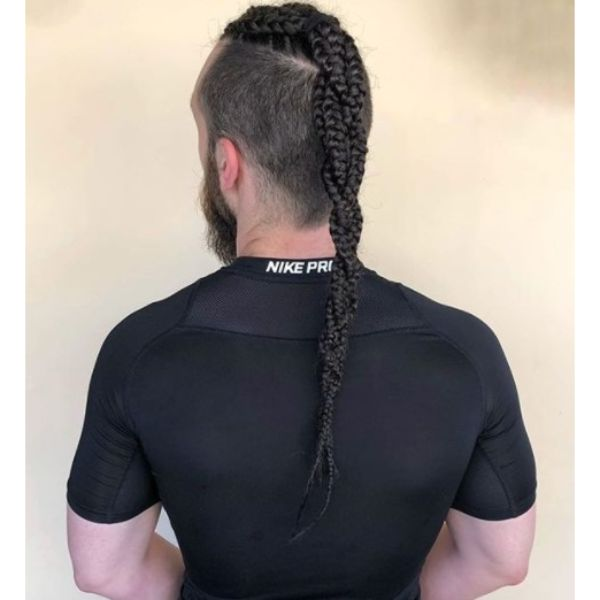 Multi Braided Ponytail with High Fade