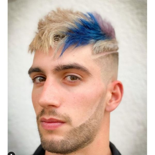 Multicolored Two-block Haircut with Side Razor Design