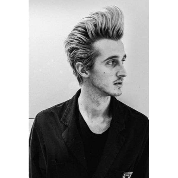 Punk Rock Pompadour with Blonde Highlights