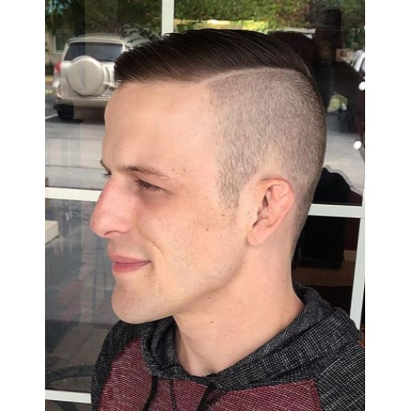 Side-swept Clipper Cut with Razored Sides