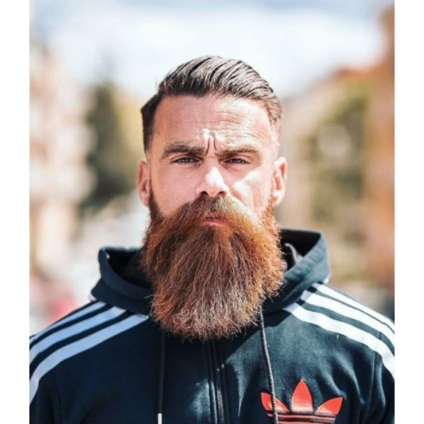 Side-swept Short Hairstyle With Bushy Beard