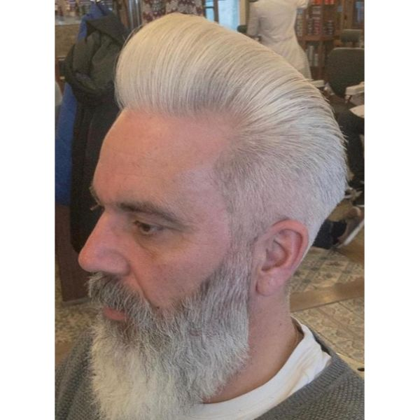 Silver Fox Hairstyle with Long Beard
