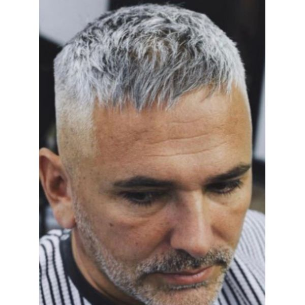Silver Gray Hairstyle with Stubby Beard