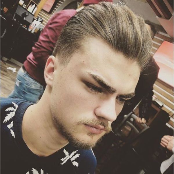 Sleek Smooth Pompadour Haircut For Men with Thick Hair