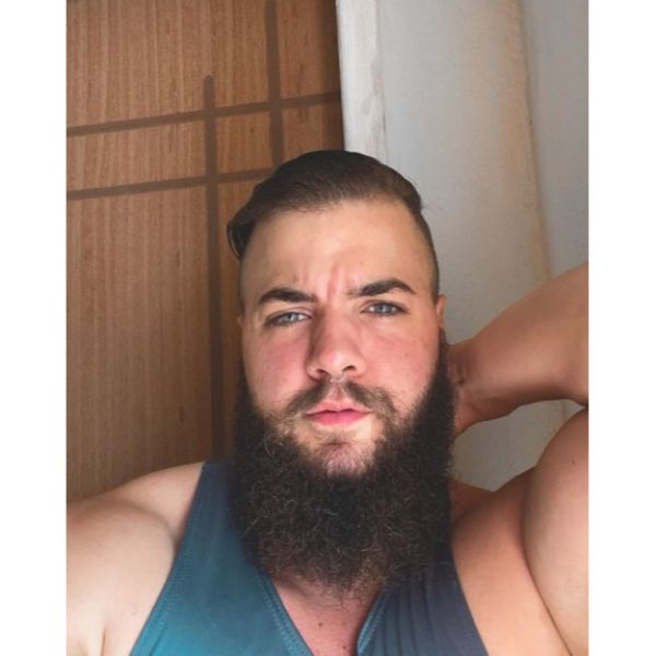 Slick Back Hairstyle With Viking Beard