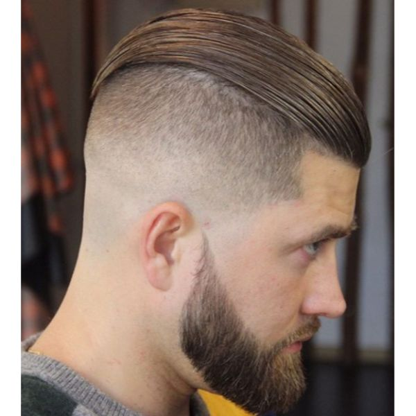 Slick Back Hairstyle with Razored Sides Low Maintenance Haircuts For Men