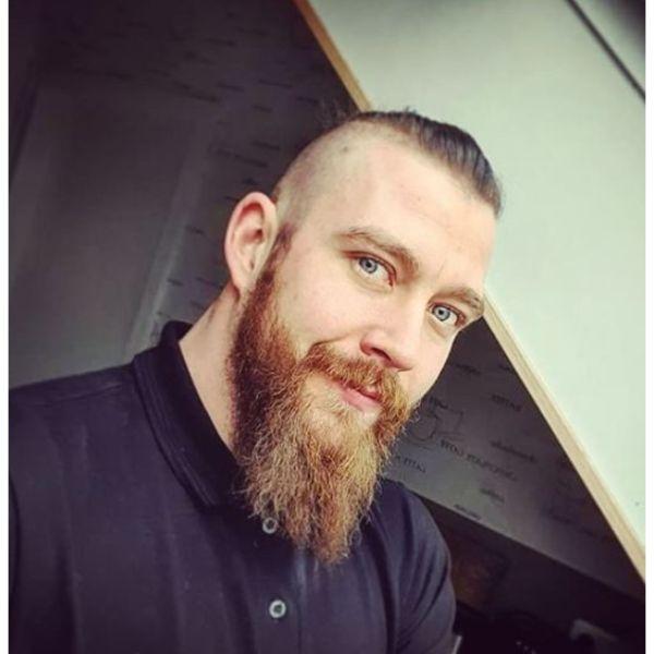 Slick Back Viking Hairstyle with Beard