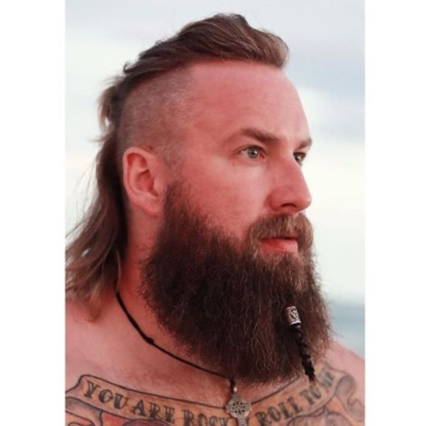 Slick Back Viking Hairstyle with Mullet