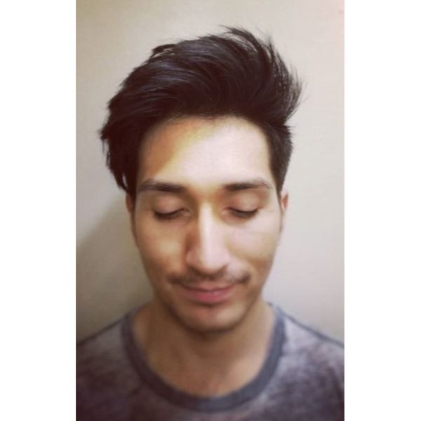Spiky Up-swept Hairstyle For Men with Thick Hair