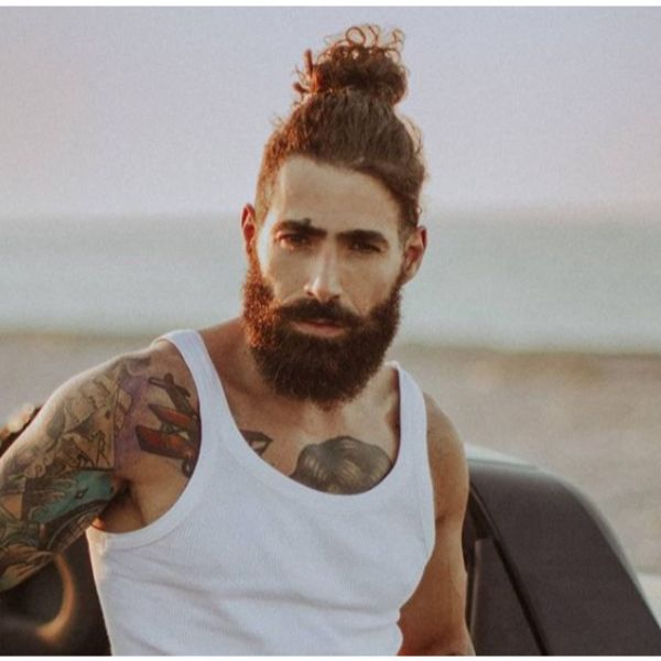 Top Knot With Bushy Beard