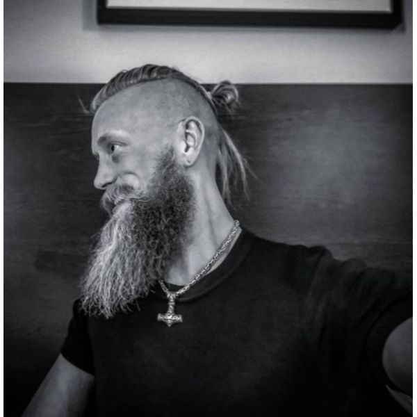 Top Knot With Ultra Long Viking Hairstyle