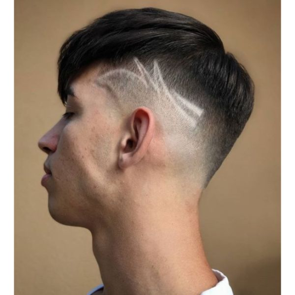 Undercut with Low Fade and Side Razor Design