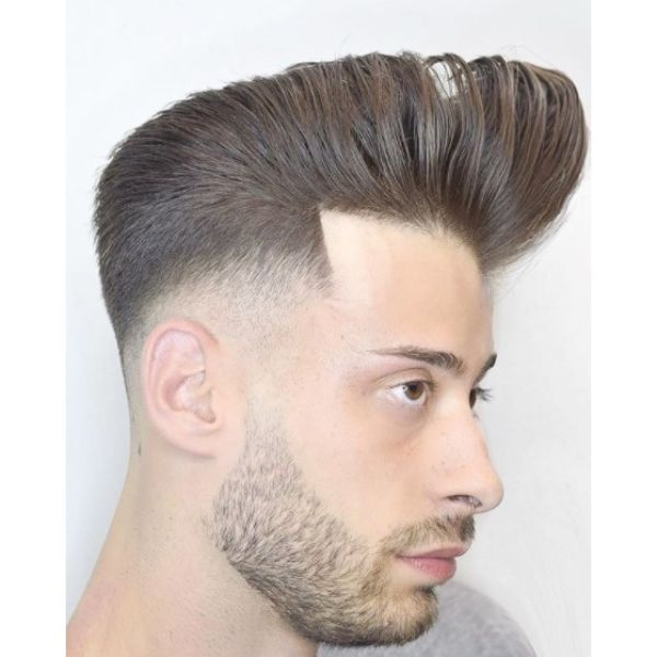 Undone Pomp With Sharp Fade For Men With Thick Hair