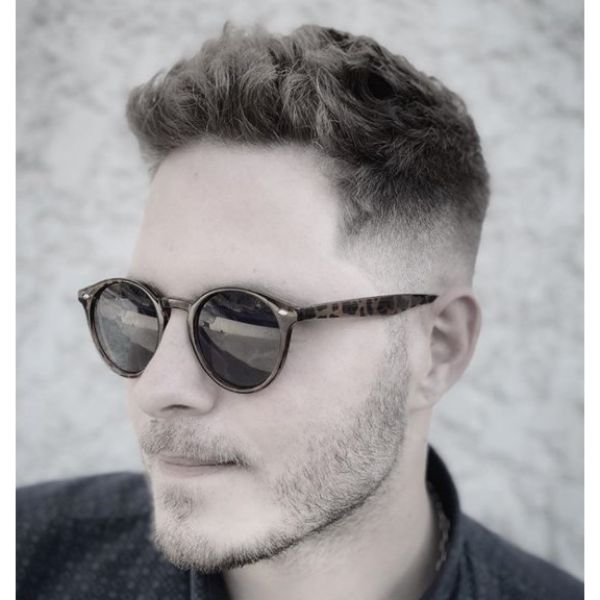 Upswept Mid Fade Hairstyle For Men with Thick Hair