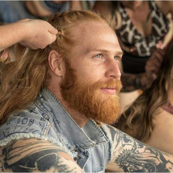 Viking Beard With Small Top Braids Hairstyle