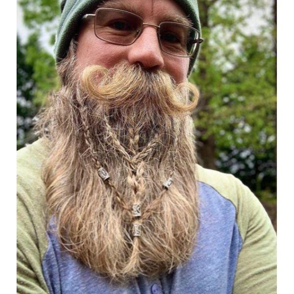 Viking Hairstyle with Braided Beard