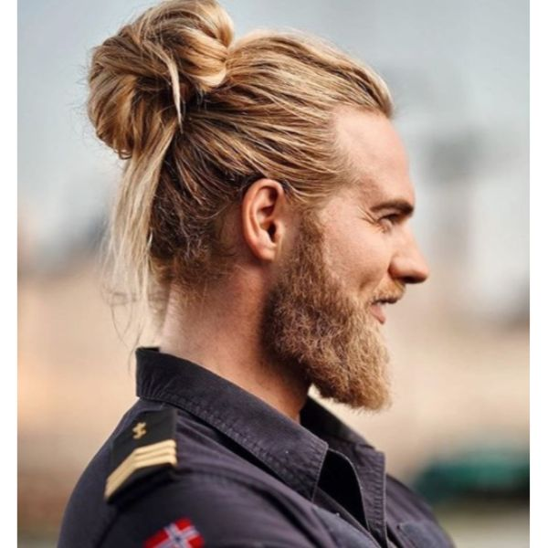 Voluminous Man Bun Viking Hairstyle