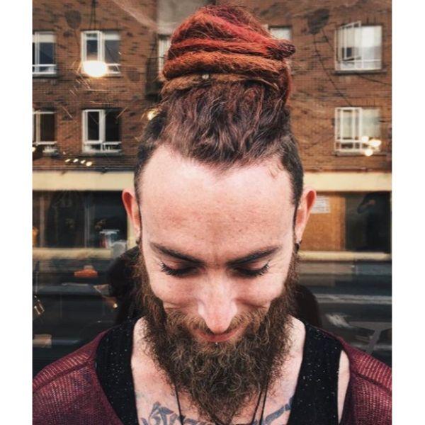 Auburn Colored Dreadlock Styles For Men dreadlock styles for men