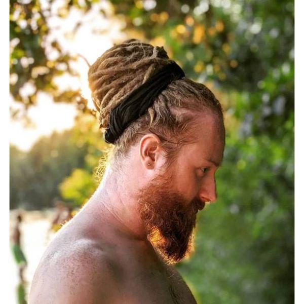 Beehive Dreadlocks Blonde Man Bun
