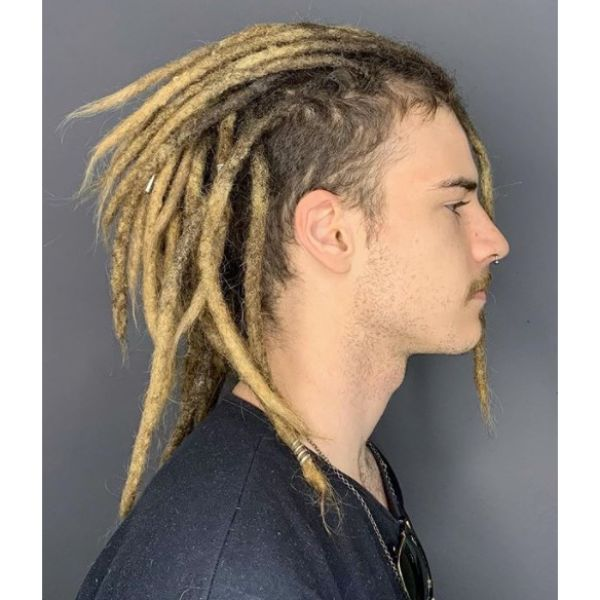 Blonde Dreadlocks with Blurry Fade dreadlock styles for men