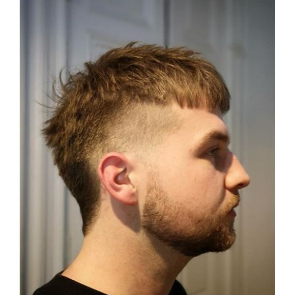 Blonde Mullet Hairstyle For Men with Straight Hair