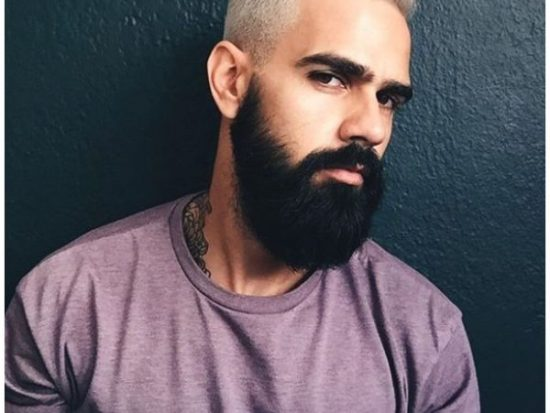 BlondeTextured Haircut with Dark Beard