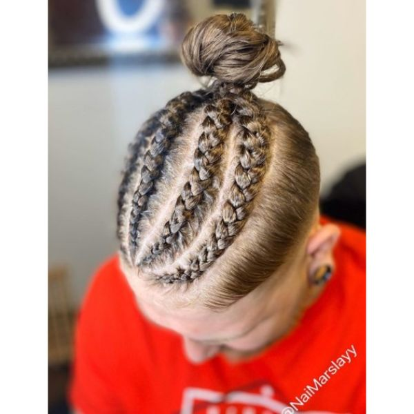 Braided Bun with Top Knot and Undercut