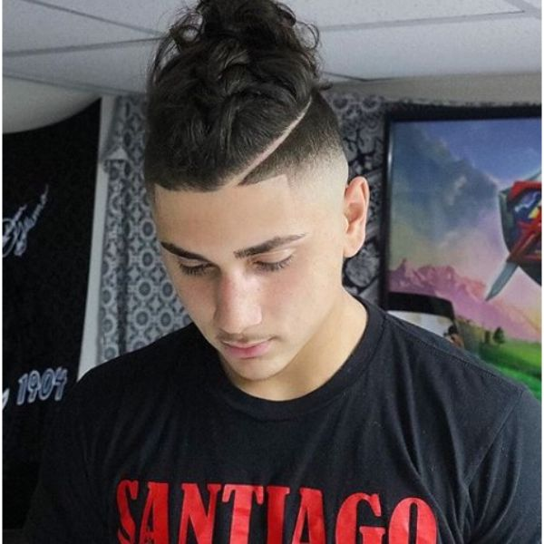 Braided Top Knot with High Fade and Razor Design