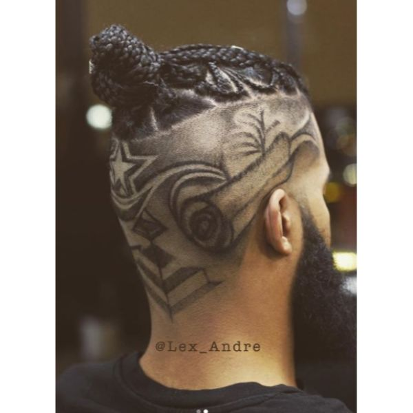 Braided Top Knot with High Fade Man Bun Hairstyles