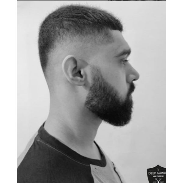 Buzz Cut with Skin Fade Hairstyle With Beard