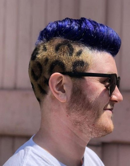 Cheetah Print and Blue Mohawk Hairstyle