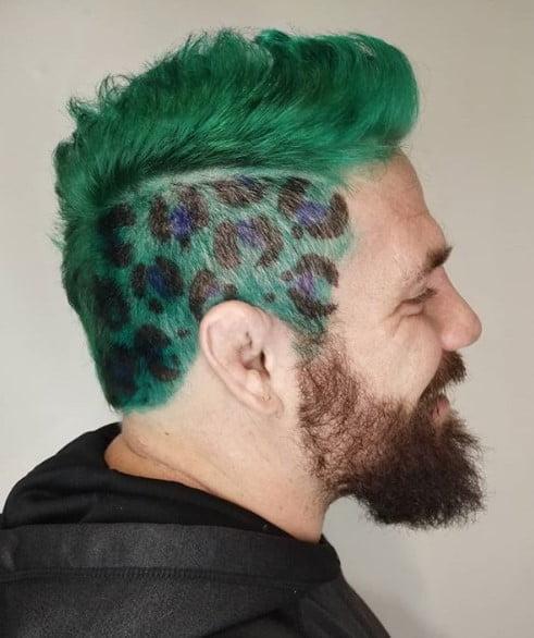 Cheetah Print with Green Mohawk Pun Hairstyle