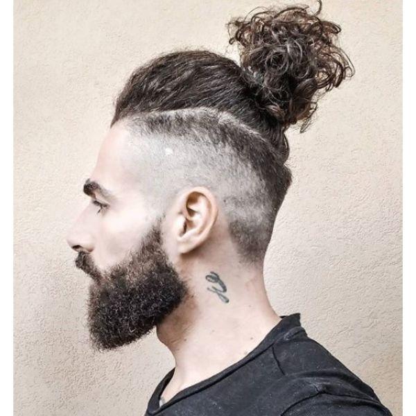 Curly Man Bun With Side Razor Design Man Bun Hairstyles