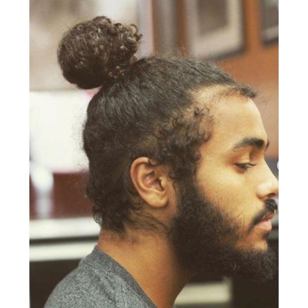 Curly Man Bun with Baby Hair Man Bun Hairstyles