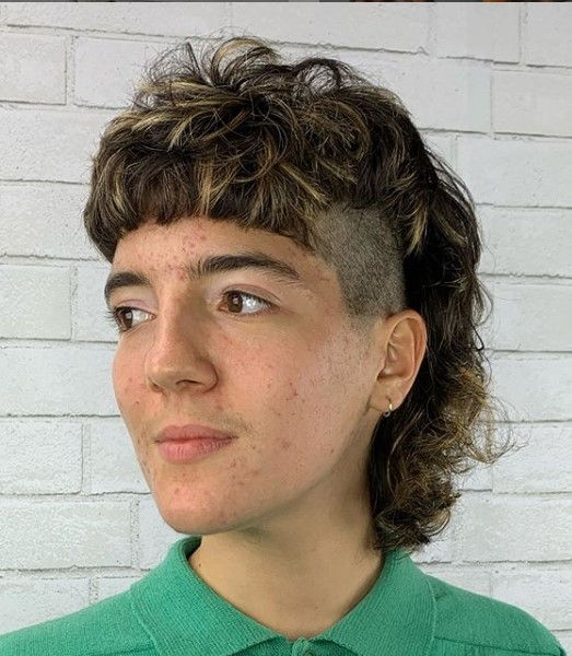 Curly Modern Mullet Mohawk Hairstyle punk hairstyles for guys