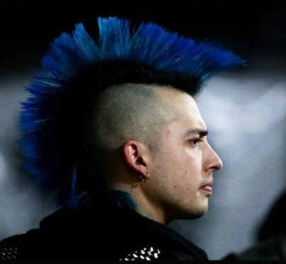 Dark Blue Hairstrands with Shaved Sides punk hairstyles for guys