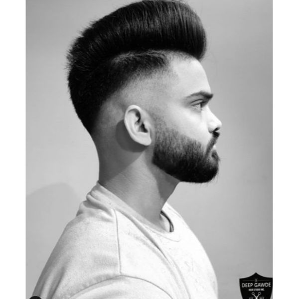 Fade Cut With Pomp Mohawk Haircut for Straight Hair