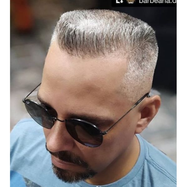 Flattop Gray Hairstyle with Goatee