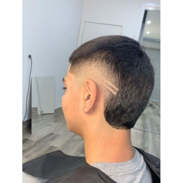 Fresh Fade with Razor Design Hairstyles For Men With Straight Hair