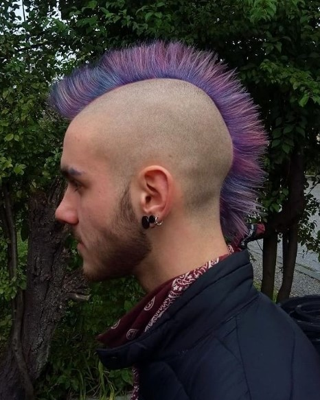 Galaxy Colored Mohawk Hairstyle with Shaved Sides