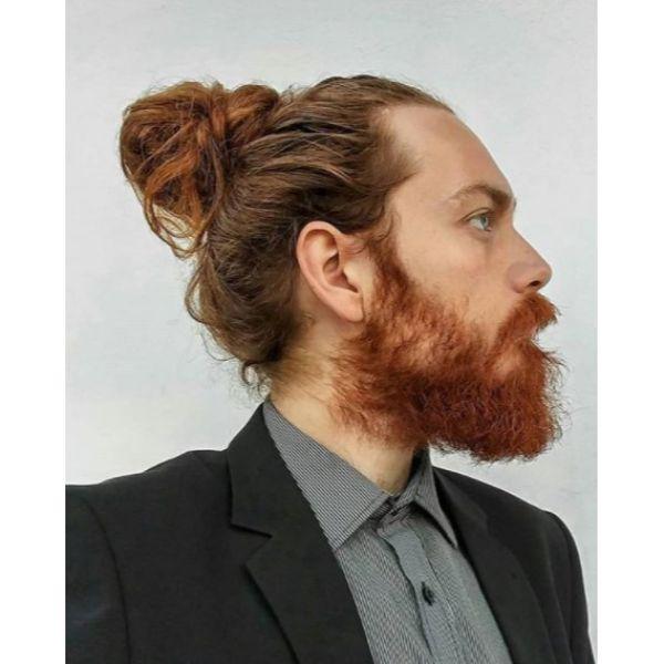 Ginger Full Medium Man Bun Hairstyle